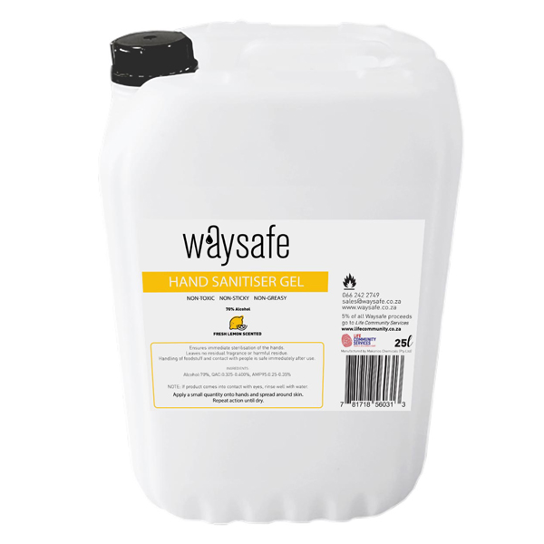 Waysafe Hand Sanitiser Gel Lemon Scented 25 Litre