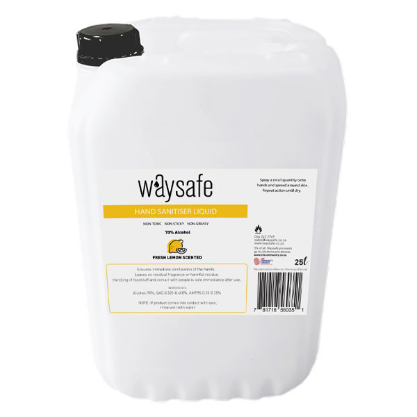 Waysafe Hand Sanitiser Liquid 70% Lemon Scented 25 Litre