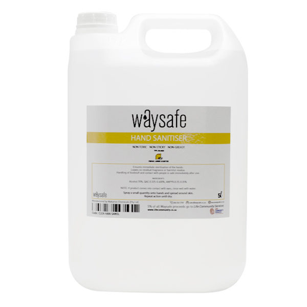 Waysafe Hand Sanitiser Liquid 70% Lemon Scented 5 Litre